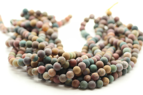 8mm Agate, Ocean, Matte, Natural, Smooth Round