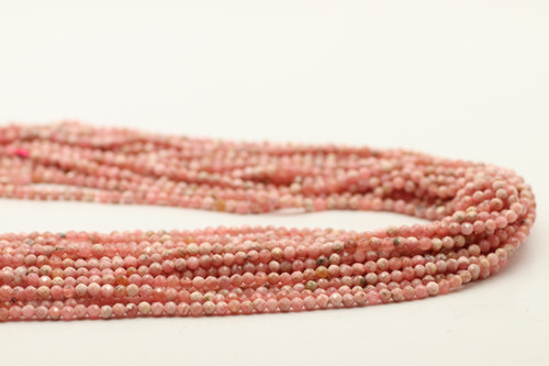 Rhodochrosite, Natural, 3mm Faceted Strand