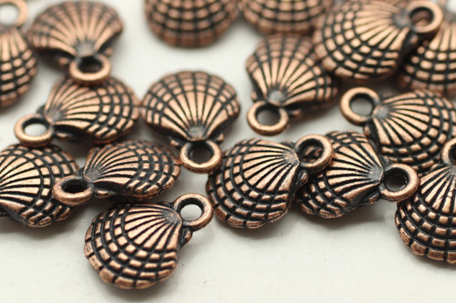 CLAM SHELL, Double Sided, 12x10x3.5mm, Antique Copper Plated (Metal Alloy), approx 24
