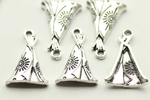 Teepee, 22x14.5x3.5mm, Antique Silver Plated (Metal Alloy), approx 10 per bag