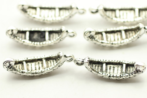 Canoe, Double Sided, 24.4x7x3mm, Antique Silver Plated (Metal Alloy), approx 7 per bag