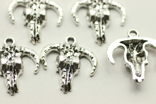 Buffalo Skull, 20.6x18.7x3.8mm, Antique Silver Plated (Metal Alloy),  approx 9 per bag