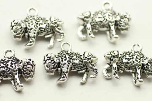 Buffalo, 20.9x8x3.3mm, Double Sided, Antique Silver Plated (Metal Alloy), approx 5 per bag