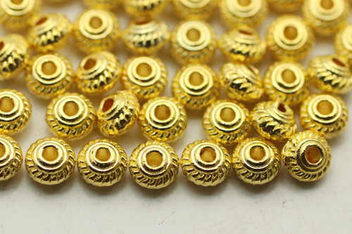Spacer, Bali Rope Middle, 4x3.5mm, Gold Plated (Metal Alloy), approx 120 per bag