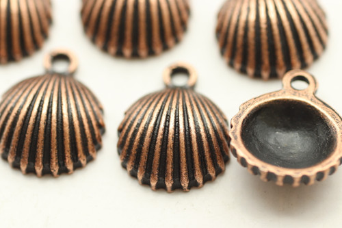 Clam Shell, 14x12x4.5mm, Antique Copper Plated (Metal Alloy), approx 15 per bag