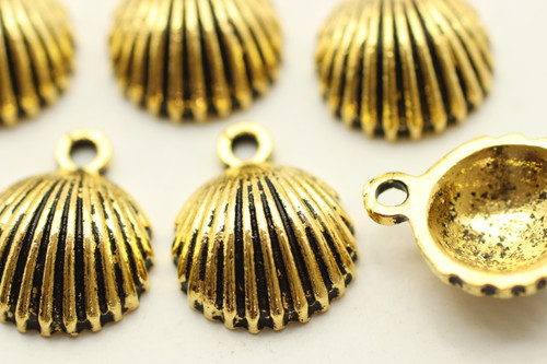 Clam Shell, 14x12x4.5mm, Antique Gold Plated (Metal Alloy), approx 15 per bag