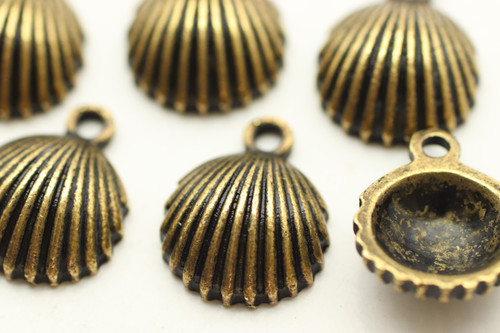Clam Shell, 14x12x4.5mm, Antique Bronze Plated (Metal Alloy), approx 15 per bag