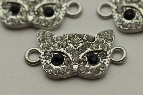 Kitten Face, 25x13 mm, Antique Silver Plated (Metal Alloy), 3 per bag