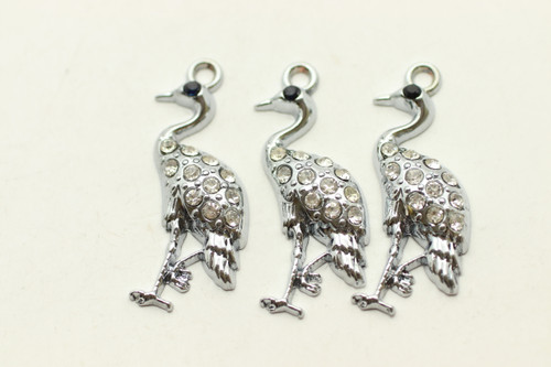 Peacock, Rhinestone, 33x19mm, Antique Silver Plated (Metal Alloy), 3 per bag
