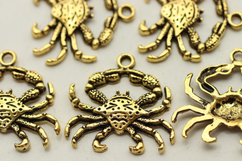 CRAB, 23x23x2.5mm, Antique Gold Plated (Metal Alloy), approx 10 per bag