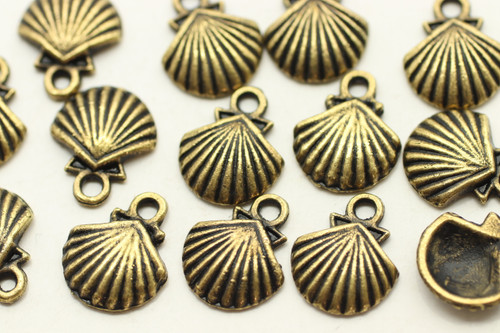 SCALLOP SHELL, 14x12x3mm, Antique Bronze Plated (Metal Alloy), approx 29 per bag