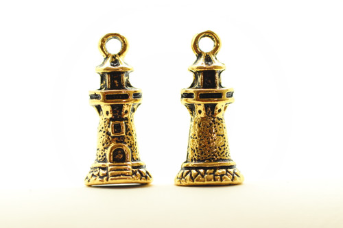 Lighthouse, Double Sided, 20x10mm, Antique Gold Plated (Metal Alloy), approx 12 per bag