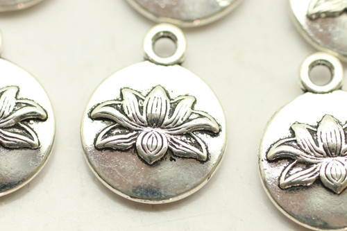 Lotus Flower, Double Sided, 16x13x3mm, Antique Silver Plated (Metal Alloy), approx 20 per bag