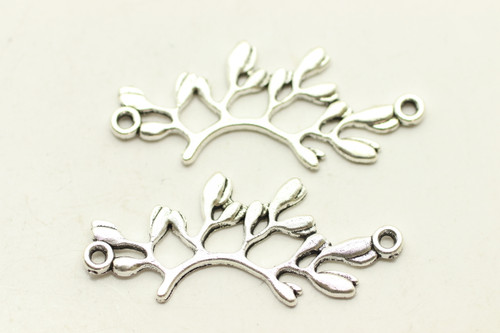 Leaf Connector, Double Sided, 37x14x1.5mm, Antique Silver Plated (Metal Alloy),  approx 12 per bag