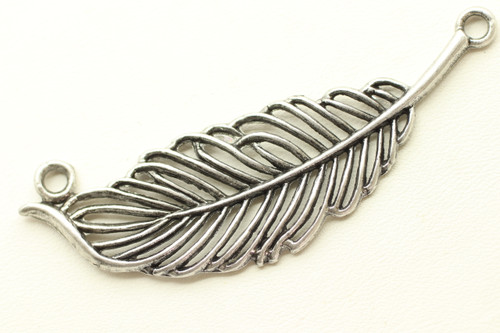 Leaf Link, Double Sided, 63x18x2.5mm, Antique Silver Plated (Metal Alloy), approx 3 per bag