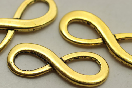 Infinity, 23x8.5x1.5mm, Gold Plated (Metal Alloy), approx 5 per bag
