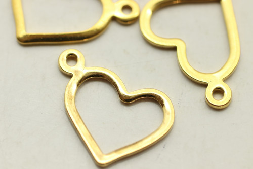 Heart Drop, Dlouble Sided, 10x13.5x7mm, Gold Plated (Metal Alloy), approx 10 per bag