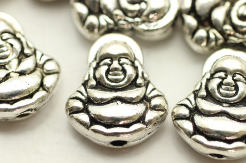 Buddha, Double Sided, 11x10x4mm, Antique Silver Plated (Metal Alloy), approx 22 per bag
