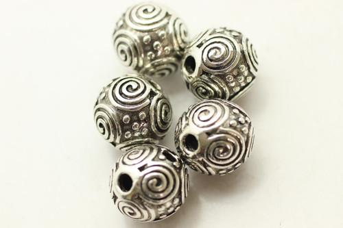 Guru Bead 3 Holes, 11mm, Antique Silver Plated (Metal Alloy), approx 5 per bag