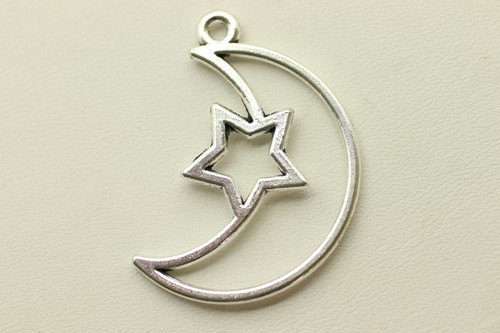 Moon and Star, 37x22x1.5mm, Antique Silver Plated (Metal Alloy), approx 13 per bag