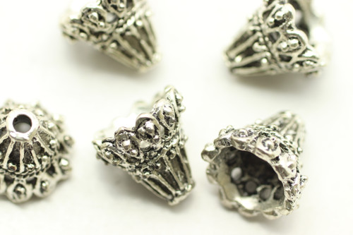 Cone, Filigree, 11x10mm, Antique Silver Plated (Metal Alloy), approx 14 per bag
