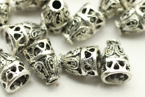 Cone, Duo Design, 9.5x7mm, Antique Silver Plated (Metal Alloy), approx 24 per bag