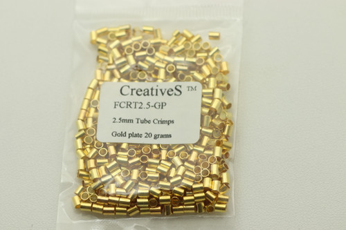 Crimp Tube, 2.5mm, Gold Plated, approx 1100 pc