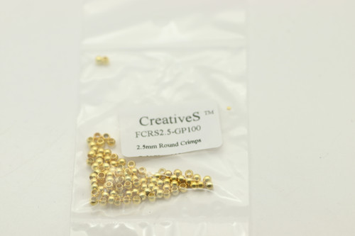 Crimp Bead, 2.5mm, Gold Plated, 100 pc