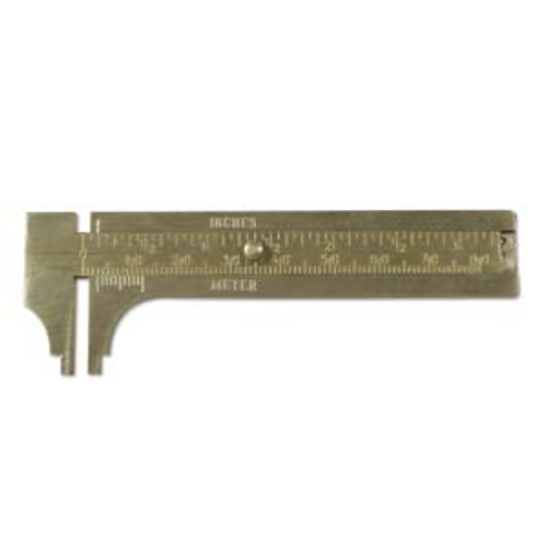 80mm brass gauge slide. Measures in both inches and millimeters.