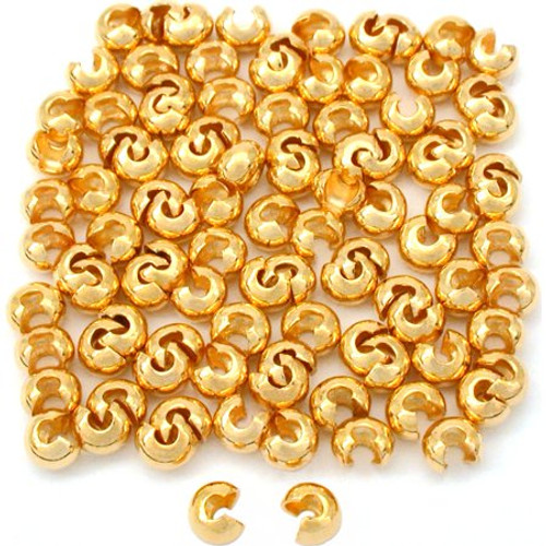 CRIMP BEAD COVER 4MM GOLD PLATE- 144 pc