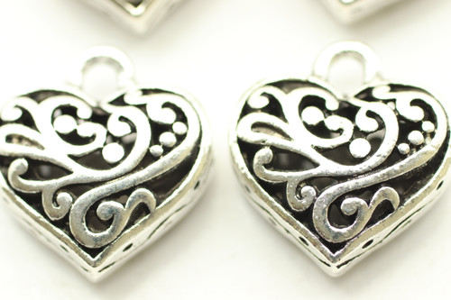 HEART, Vine Filigree Charm, Double Sided, 20x14x8, Antique Silver Plated (Metal Alloy), 4 charms