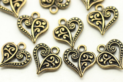 HEART, Split Design, Double Sided, 14x13x3mm, Antique Bronze Plated (metal alloy), approx 28 per bag