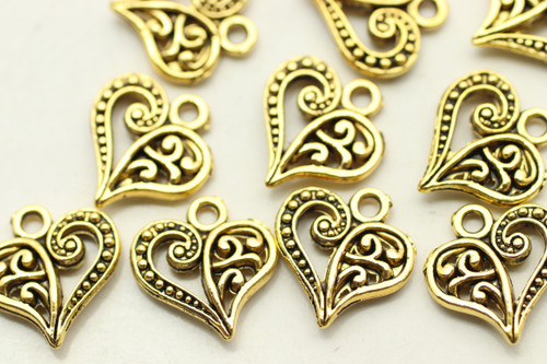 HEART, Split Design, Double Sided, 14x13x3mm, Antique Gold Plated (metal alloy), approx 28 per bag