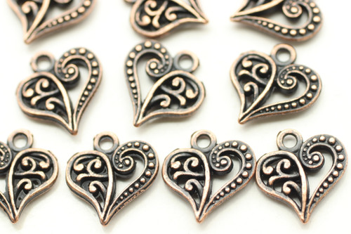 HEART, Split Design, Double Sided, 14x13x3mm, Antique Copper Plated (metal alloy), approx 28 per bag