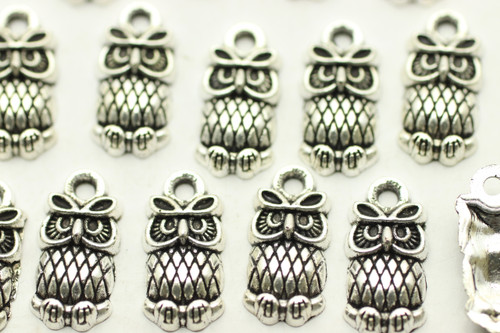 Owl, 14.4x7.3mm, Antique Silver Plated (Metal Alloy), approx 44 per bag