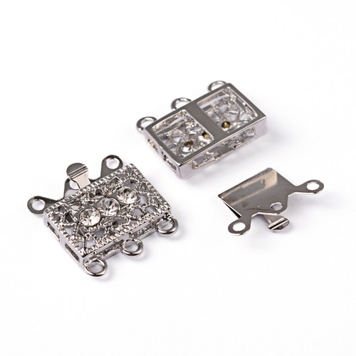 CLASP, Box with Crystals, Antique Silver Plated (metal alloy), 18x17x15mm, 1 per bag