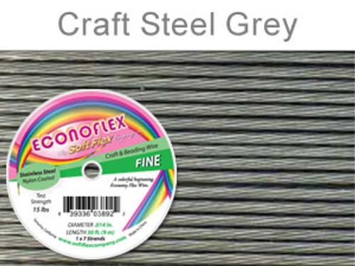 ECONOFLEX FINE WIRE  .014 DIA. 30 FT (9M) 1X7 STRAND STEEL GREY