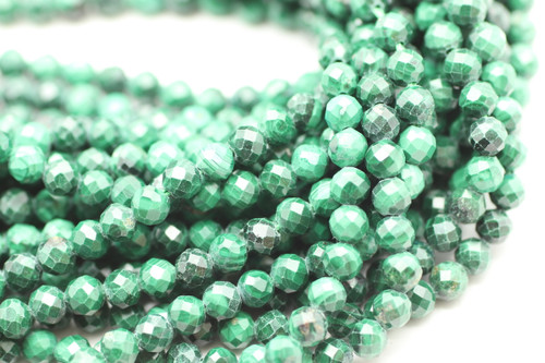 3mm Malachite, Natural, Faceted Strand