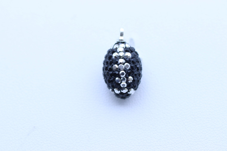 Black & Silver Crystal Football Charm