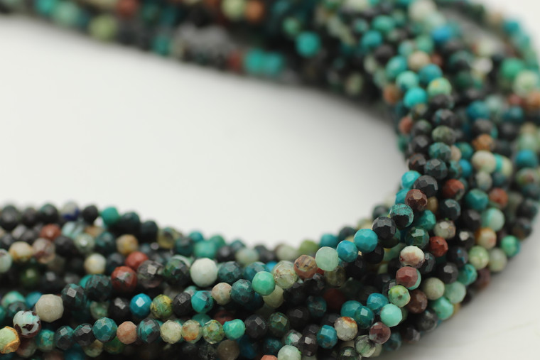 2mm Chrysocolla, Chinese, Dyed, Faceted Strand