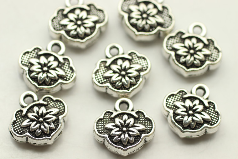 LOTUS BEAD & DROP, Double Sided, 13x13x5mm, Antique Silver Plated (Metal Alloy), approx 10 per bag