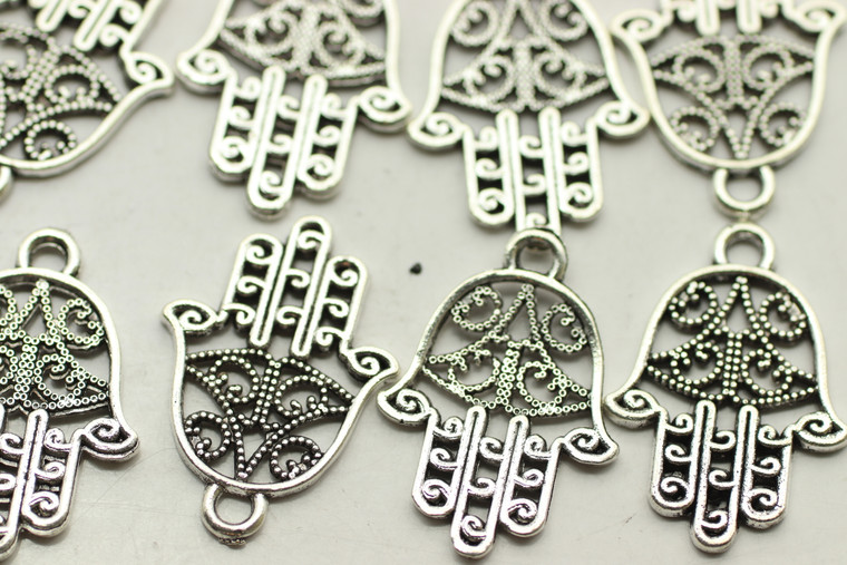 HAMSA HAND, Double Sided, 22x14x1mm, Antique Silver Plated (Metal Alloy), approx 34 per bag