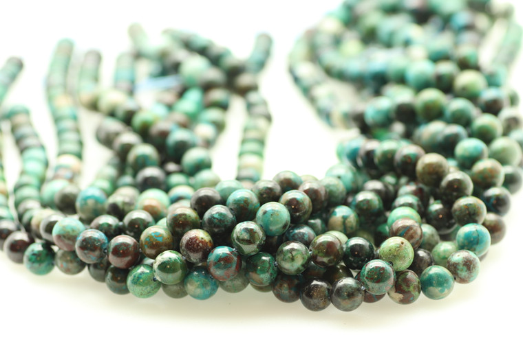 8mm Chrysocolla, Fynchenite, Natural, Smooth Round