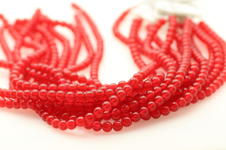 6mm Agate, Red, Dyed, Smooth Round