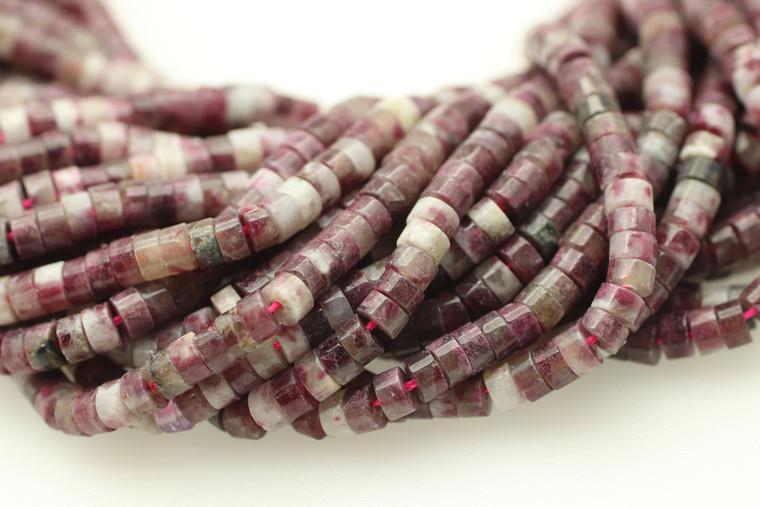 Tourmaline, Pink, Heishi, 4x2mm