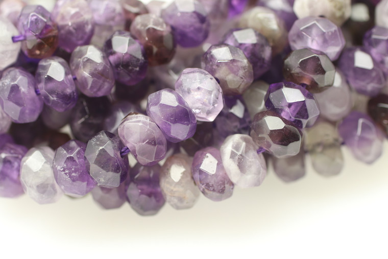 Amethyst, Chevron, Natural, Faceted Rondelle, 8x5mm