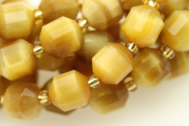 Tiger Eye, Golden, Heated, Faceted Off Round, 8mm