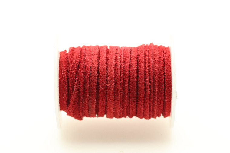 Suede Red 3mm Flat 32 Feet