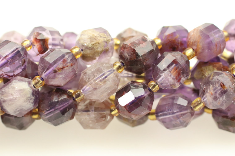 Super 7, Melody Stone, Purple, Natural, Faceted Off Round, 10mm