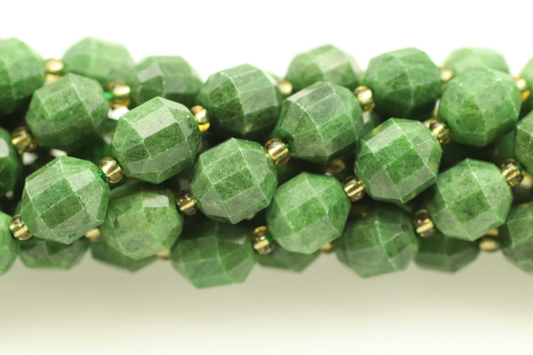 Jade, Green, Natural, Faceted Off Round, 10mm